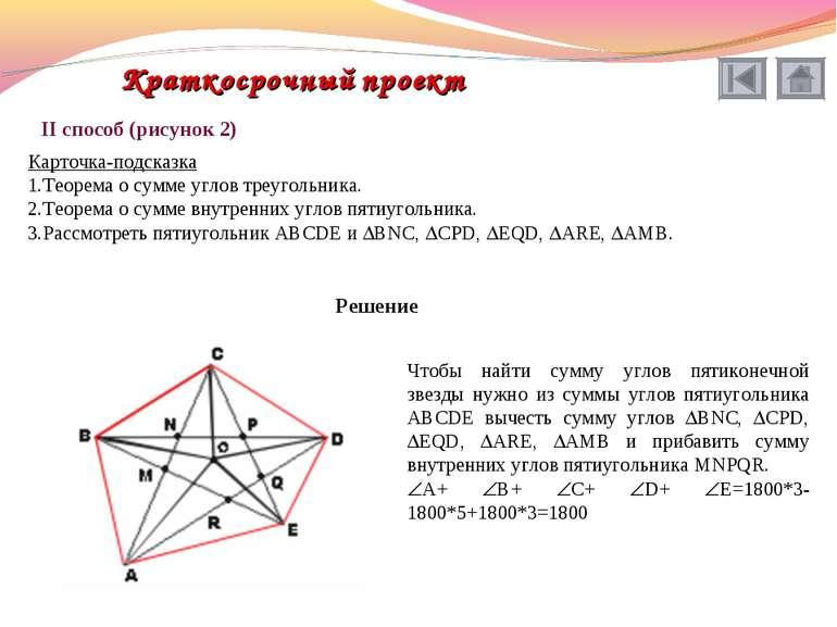 II способ (рисунок 2) Карточка-подсказка Теорема о сумме углов треугольника. ...