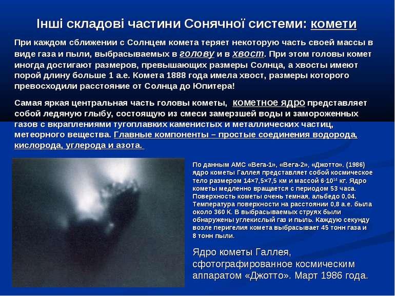 Інші складові частини Сонячної системи: комети При каждом сближении с Солнцем...