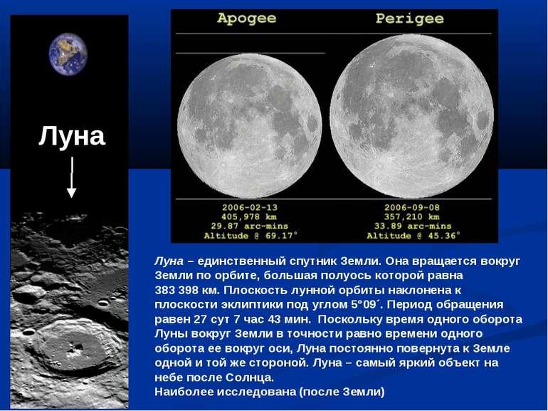 Луна – единственный спутник Земли. Она вращается вокруг Земли по орбите, боль...