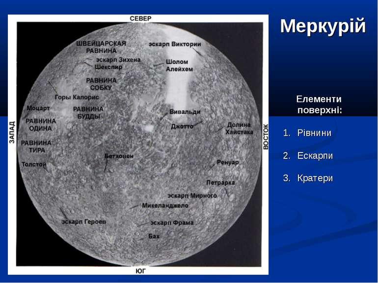 Меркурій Елементи поверхні: Рівнини Ескарпи Кратери