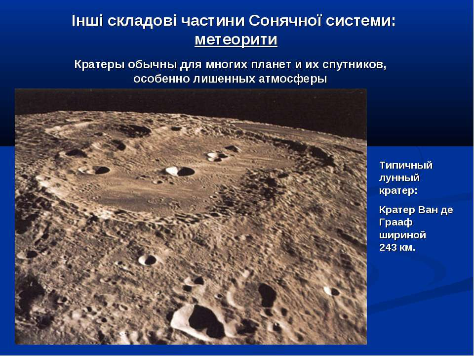 Інші складові частини Сонячної системи: метеорити Типичный лунный кратер: Кра...