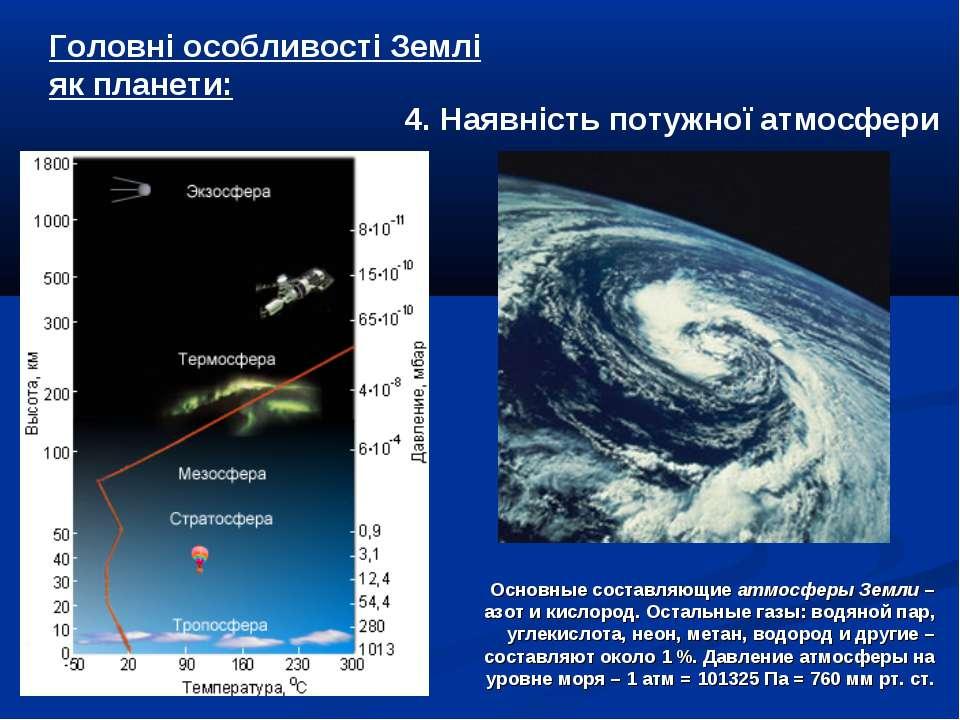 4. Наявність потужної атмосфери Головні особливості Землі як планети: Основны...