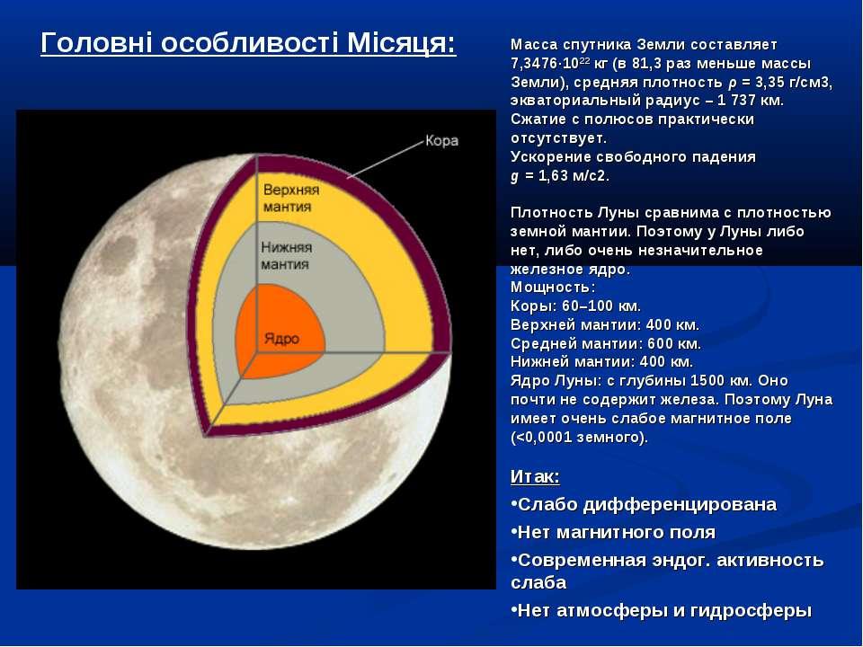 Головні особливості Місяця: Масса спутника Земли составляет 7,3476∙1022кг (в...