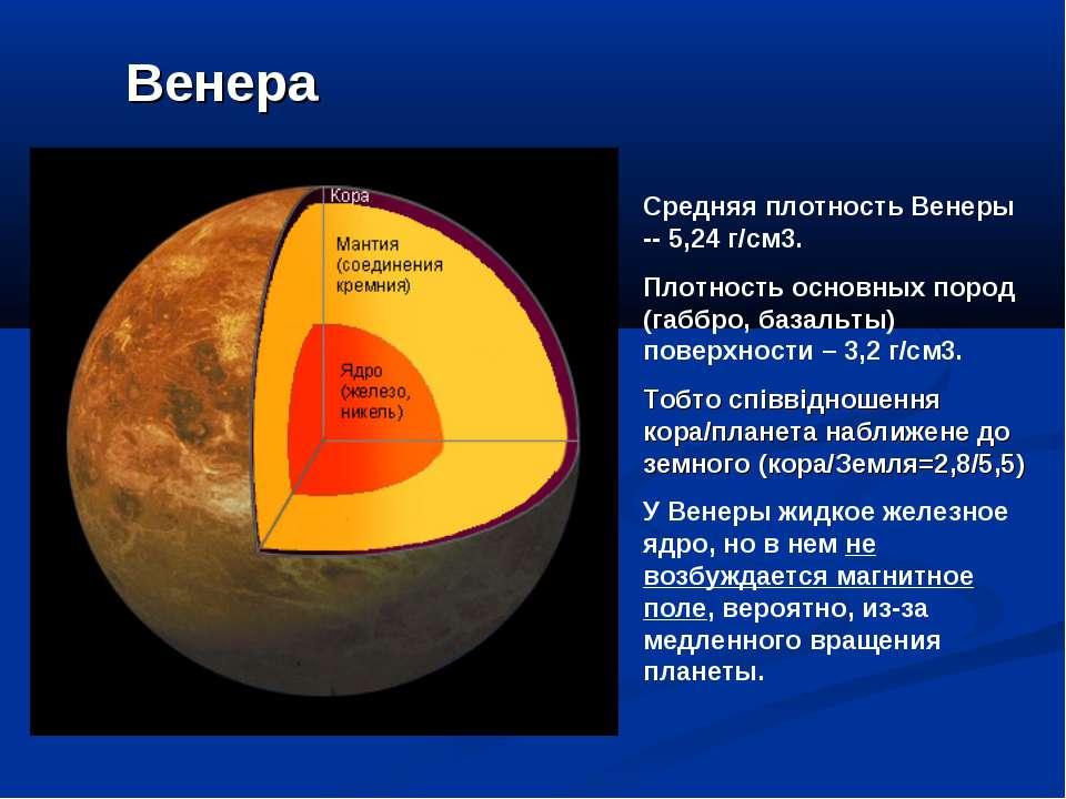 Венера Средняя плотность Венеры -- 5,24г/см3. Плотность основных пород (габб...