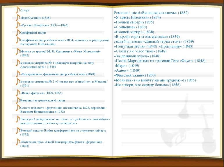 Опери Опери «Іван Сусанін» (1836) «Руслан і Людмила» (1837—1842) Симфонічні т...