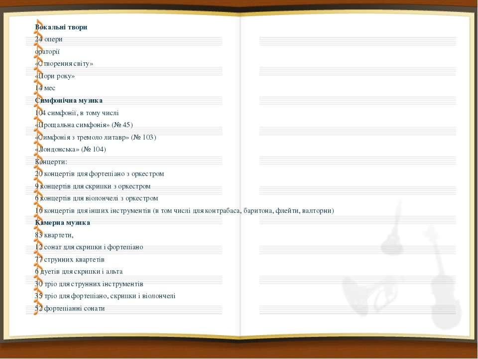 Вокальні твори Вокальні твори 24 опери ораторії «Створення світу» «Пори року»...