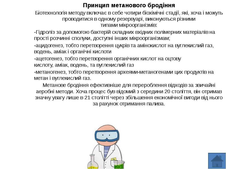 Принцип метанового бродіння Біотехнологія методу включає в себе чотири біохім...