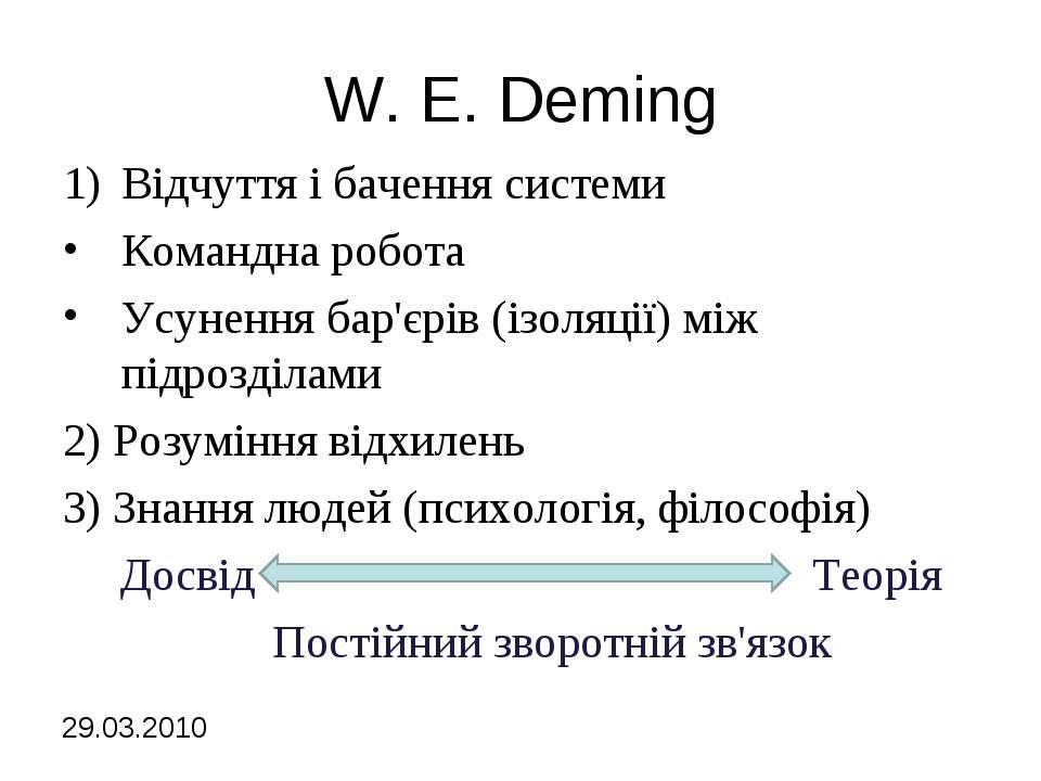 W. E. Deming Відчуття і бачення системи Командна робота Усунення бар'єрів (із...
