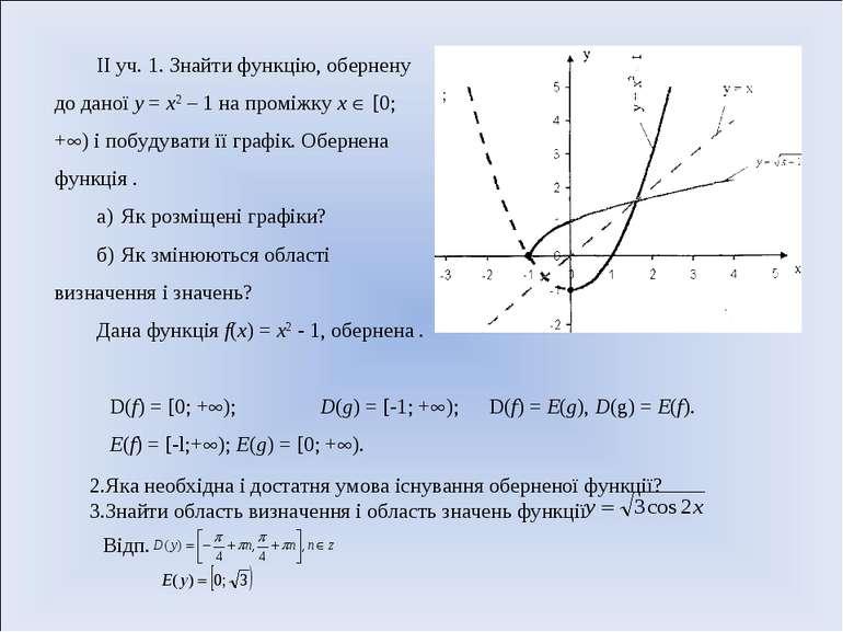 ІІ уч. 1. Знайти функцію, обернену до даної у = х2 – 1 на проміжку х [0; + ) ...