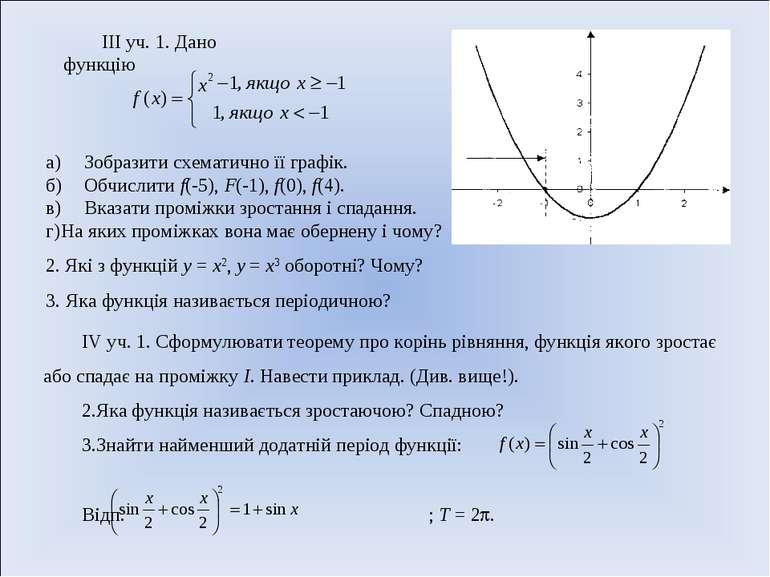 III уч. 1. Дано функцію а) Зобразити схематично її графік. б) Обчислити f(-5)...