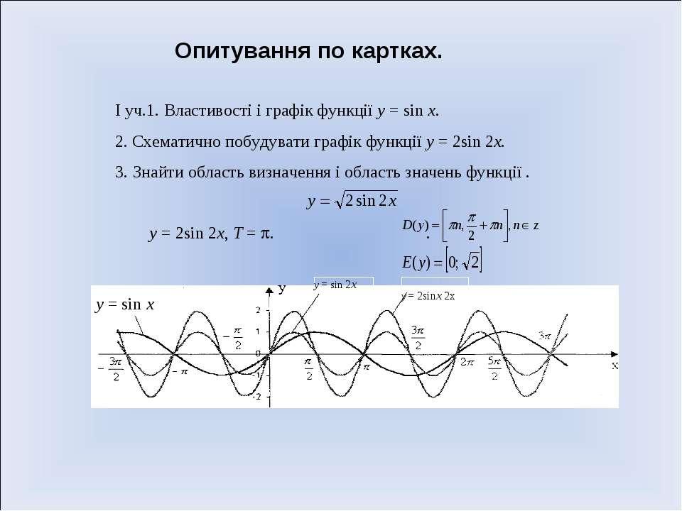 Опитування по картках. І уч.1. Властивості і графік функції у = sin х. 2. Схе...
