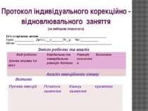 Протокол індивідуального корекційно - відновлювального заняття (за вибором пс...