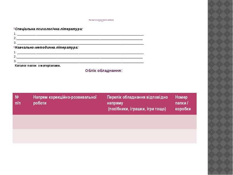 Паспорт психологічного кабінету (для обліку) Спеціальна психологічна літерату...