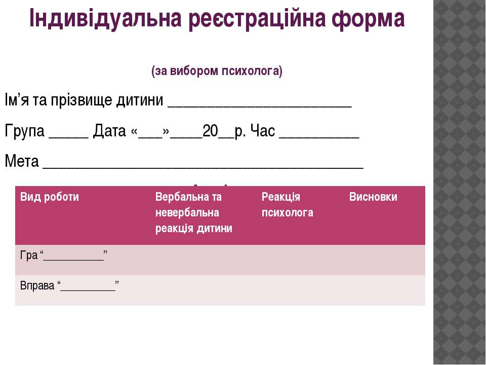 Індивідуальна реєстраційна форма (за вибором психолога) Ім'я та прізвище дити...