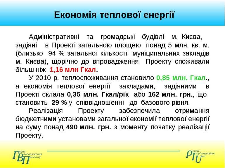 Економія теплової енергії Адміністративні та громадські будівлі м. Києва, зад...