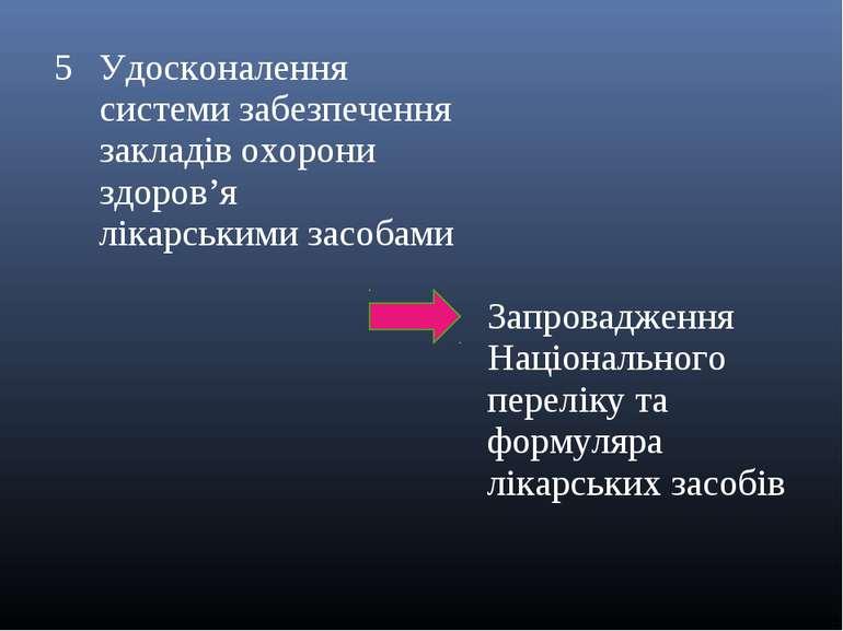 5 Удосконалення системи забезпечення закладів охорони здоров'я лікарськими за...