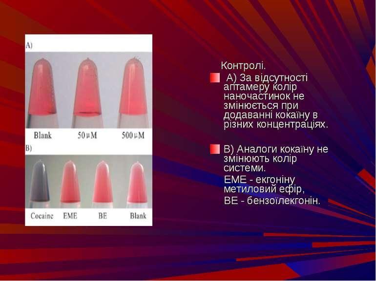 Контролi. А) За вiдсутностi аптамеру колiр наночастинок не змiнюється при до...