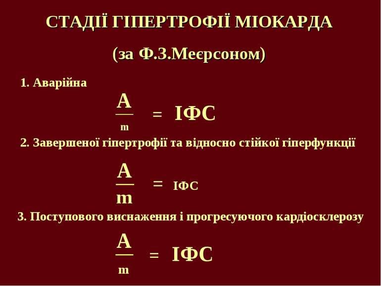СТАДІЇ ГІПЕРТРОФІЇ МІОКАРДА (за Ф.З.Меєрсоном) 1. Аварійна 2. Завершеної гіпе...