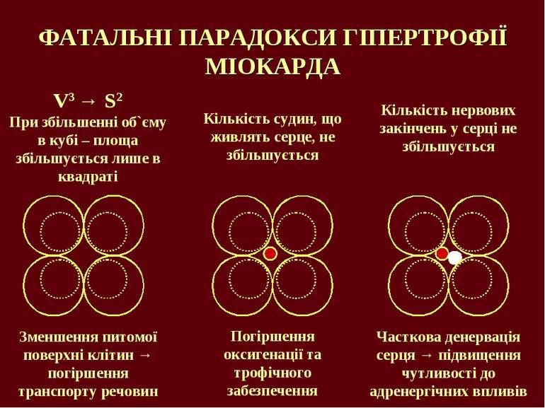 ФАТАЛЬНІ ПАРАДОКСИ ГІПЕРТРОФІЇ МІОКАРДА V3 → S2 При збільшенні об`єму в кубі ...