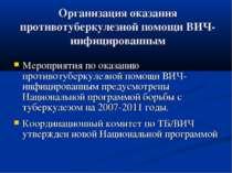 Организация оказания противотуберкулезной помощи ВИЧ-инфицированным Мероприят...