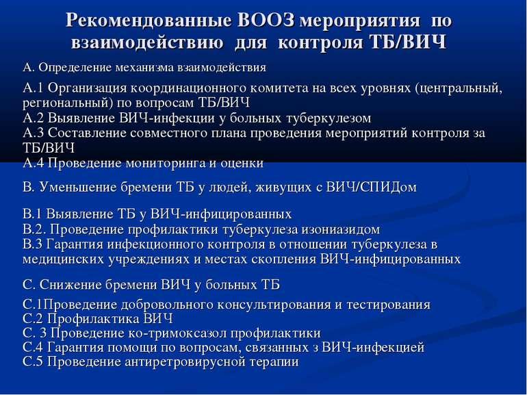 Рекомендованные ВООЗ мероприятия по взаимодействию для контроля ТБ/ВИЧ