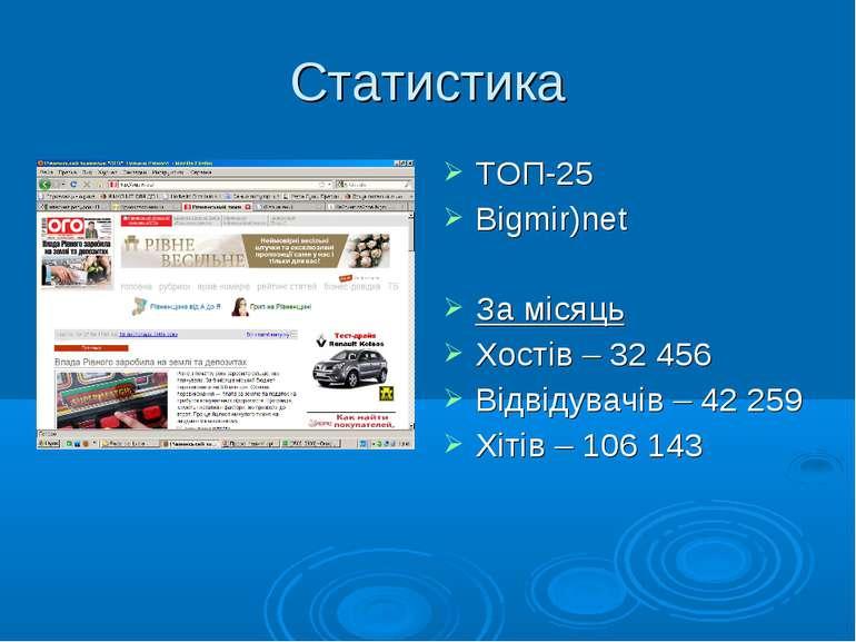 Статистика ТОП-25 Bigmir)net За місяць Хостів – 32 456 Відвідувачів – 42 259 ...