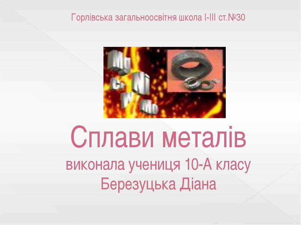 Горлівська загальноосвітня школа I-III ст.№30 Сплави металів виконала учениця...