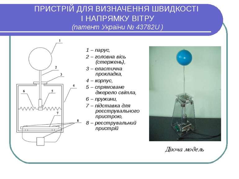 ПРИСТРІЙ ДЛЯ ВИЗНАЧЕННЯ ШВИДКОСТІ І НАПРЯМКУ ВІТРУ (патент України №43782U )...