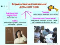 Форми організації навчальної діяльності учнів Групова одночасно навчаю весь к...