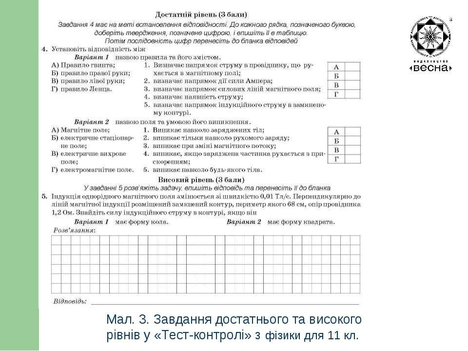 Структура посібника Мал. 3. Завдання достатнього та високого рівнів у «Тест-к...