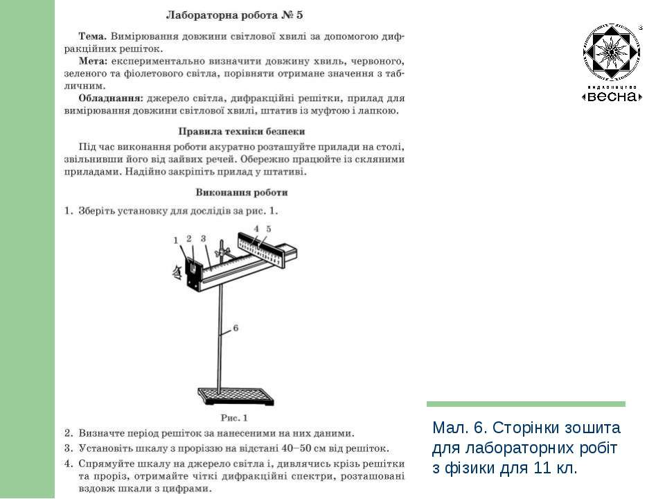 Структура посібника Мал. 6. Сторінки зошита для лабораторних робіт з фізики д...