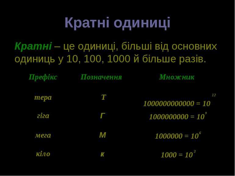 Кратні одиниці Кратні – це одиниці, більші від основних одиниць у 10, 100, 10...