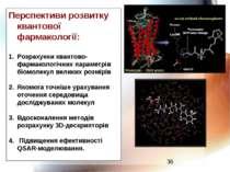 Перспективи розвитку квантової фармакології: Розрахунки квантово-фармакологіч...