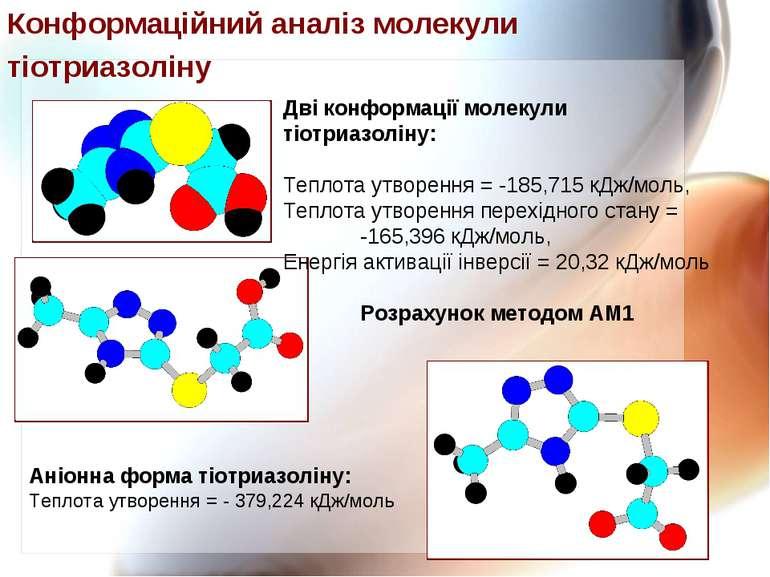 Дві конформації молекули тіотриазоліну: Теплота утворення = -185,715 кДж/моль...