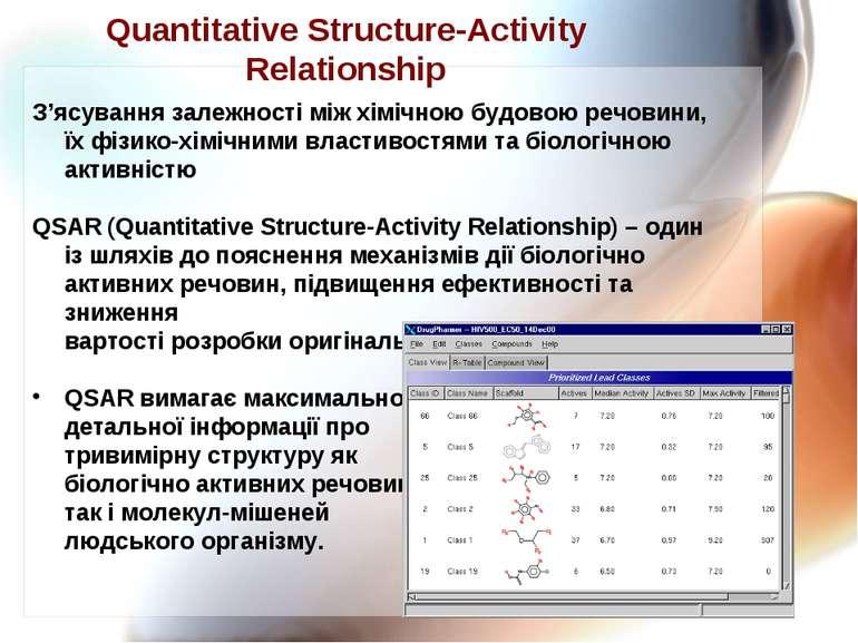 Quantitative Structure-Activity Relationship З'ясування залежності між хімічн...