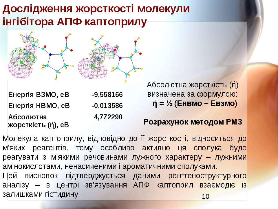 Дослідження жорсткості молекули інгібітора АПФ каптоприлу Молекула каптоприлу...