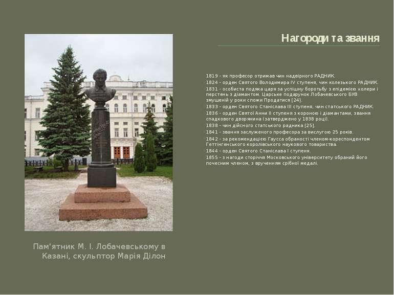 Нагороди та звання Пам'ятник М. І. Лобачевському в Казані, скульптор Марія Ділон