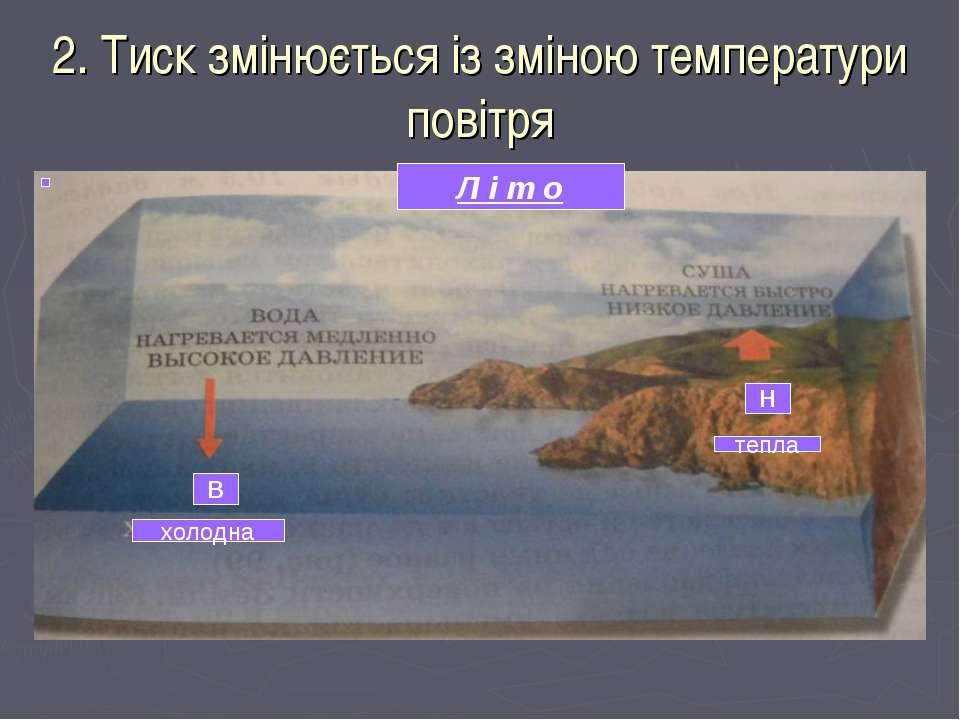 2. Тиск змінюється із зміною температури повітря Л і т о В Н холодна тепла