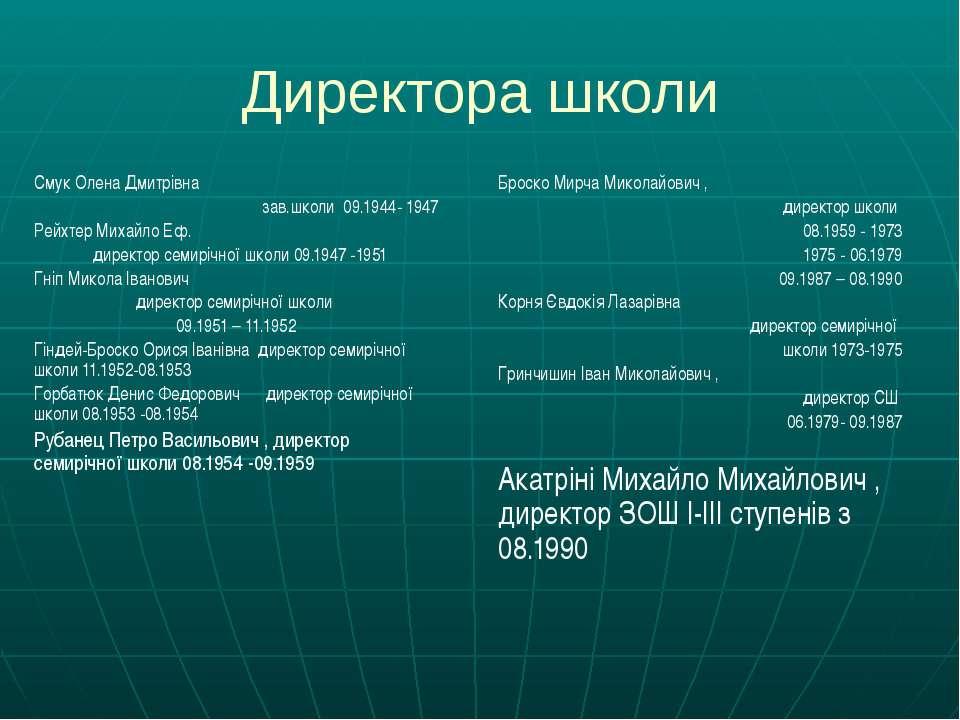 Директора школи Смук Олена Дмитрівна зав.школи 09.1944- 1947 Рейхтер Михайло ...