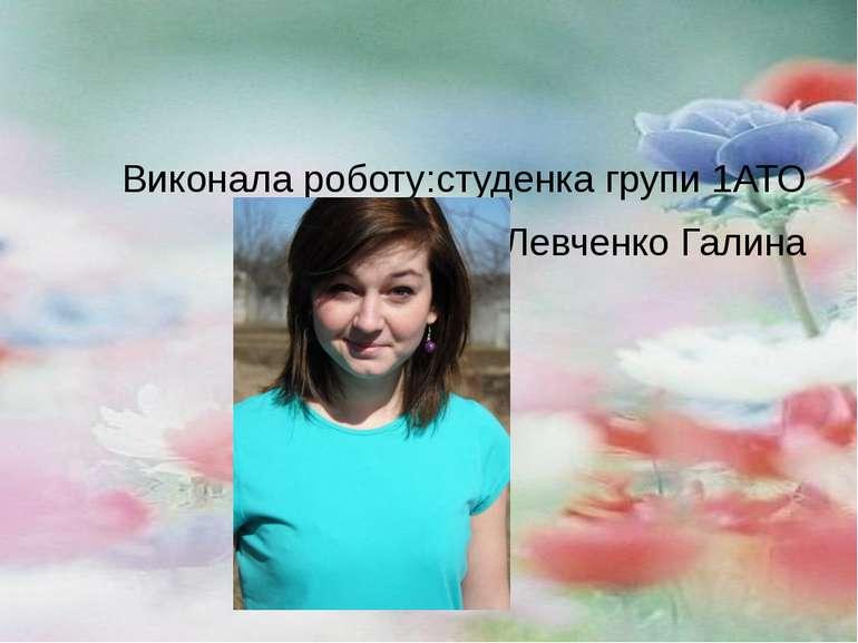 Виконала роботу:студенка групи 1АТО Левченко Галина