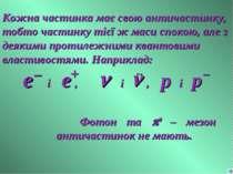 Кожна частинка має свою античастинку, тобто частинку тієї ж маси спокою, але ...
