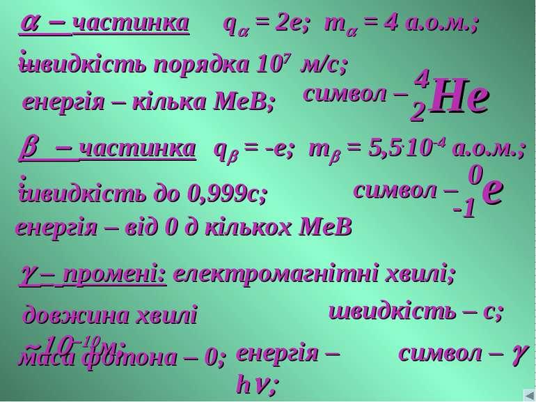 a - частинка: qa = 2e; ma = 4 а.о.м.; швидкість порядка 107 м/с; енергія – кі...
