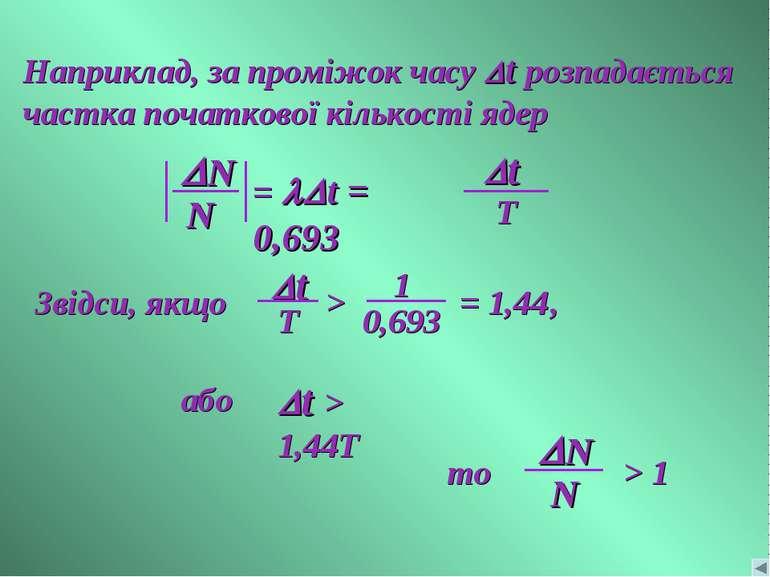 Наприклад, за проміжок часу Dt розпадається частка початкової кількості ядер
