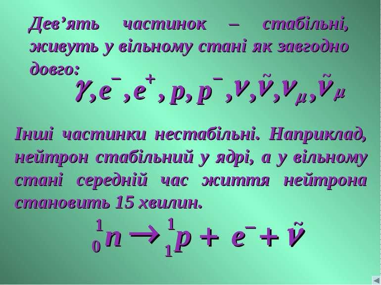 Дев'ять частинок – стабільні, живуть у вільному стані як завгодно довго: Інші...