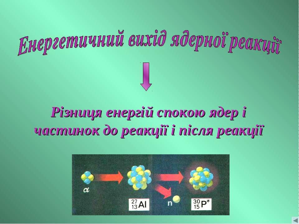 Різниця енергій спокою ядер і частинок до реакції і після реакції