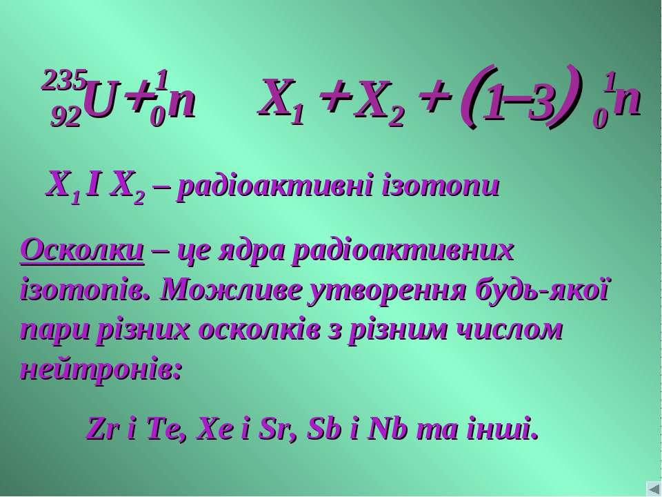 + + Ю + X1 I X2 – радіоактивні ізотопи Осколки – це ядра радіоактивних ізотоп...