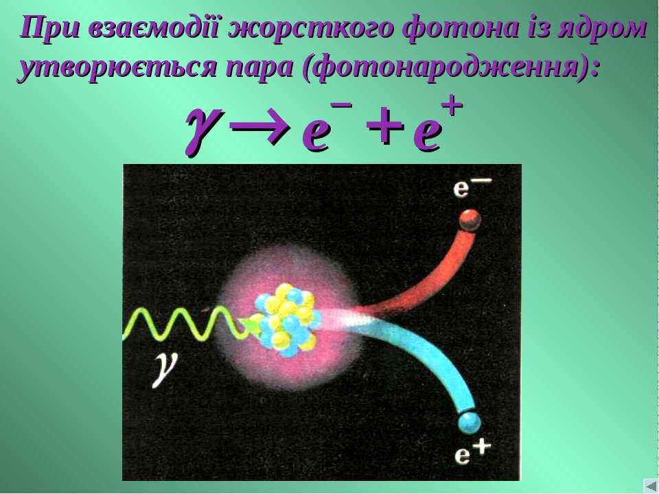 При взаємодії жорсткого фотона із ядром утворюється пара (фотонародження):