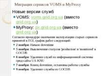 Миграция сервисовVOMS и MyProxy Новые версии служб VOMS: voms.grid.org....