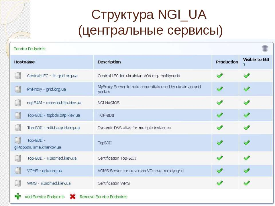 Структура NGI_UA (центральные сервисы)