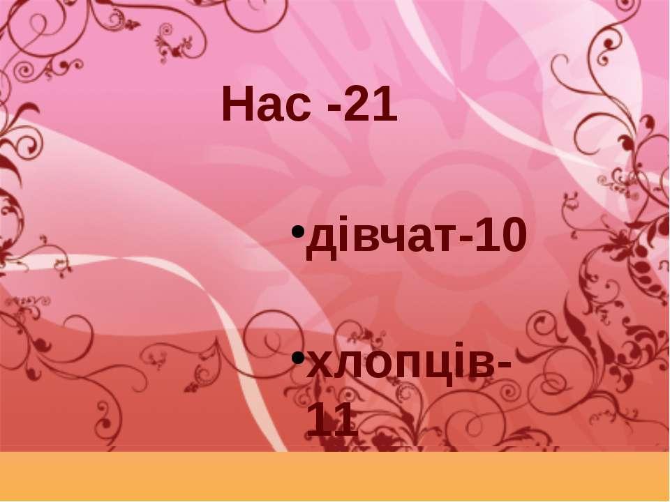 Нас -21 дівчат-10 хлопців-11